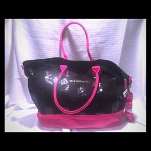 Victoria's Secret black and pink weekender bag